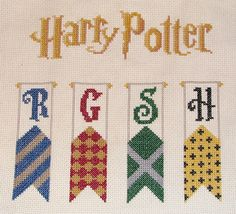 Harry Potter cross-stitch banners by gubbyfish, via Flickr