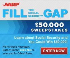 AARP $$ Fill the Gap Sweepstakes – Win $50,000 or $20 Gift Card!
