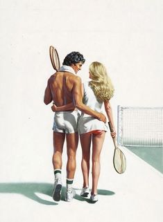 vintage tennis couple