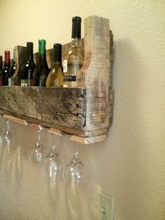 Pallet wine rack and glass holder