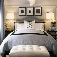 Barclay Butera - bedrooms - blue, gray, black, wallpaper, white, bed, headboard, lamp, bench, tufting, duvet, Oly Studio Serena Chandelier, Regina Andrew Milano Antique Mercury Glass Lamp,
