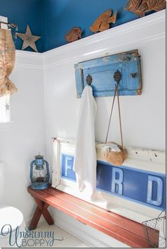 Rustic Bathroom Makeover. This bench and tailgate are so awesome!