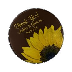 Yellow Sunflower and Chocolate Brown Wedding Thank You Favor Candy Tin. You can personalize the text and it comes with Jelly Belly jelly beans.