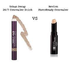 Concealer Wars. Urban Decay 24/7 Concealer Stick vs Revlon PhotoReady Concealer. #dupe #makeup #concealer
