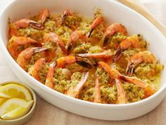 Recipe of the Day: Ina's Baked Shrimp Scampi          Ina adds a topping of buttery, lemon-scented breadcrumbs for a crunchy finish on this easy party favorite.          #RecipeOfTheDay