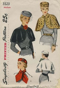 Vintage Hat Sewing Pattern | Simplicity 3323 | Year 1950 | Size Medium | Hat, Cape, Scarf and Belt