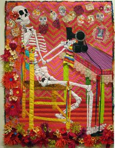 sewing machines, sewing quilts, art quilt, quilt inspir, skeletons, los muerto, appliqu, janet windsor, heavens