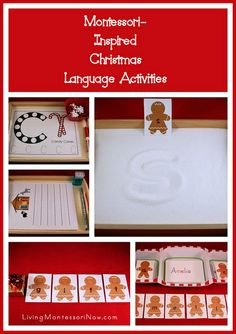 Montessori-Inspired Christmas Language Activities - links to lots of free printables and ideas for preparing Montessori-inspired Christmas activities from printables (my monthly post at PreK + K Sharing)