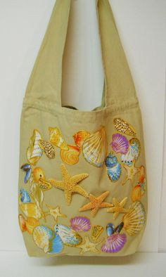 Summer Fun #Tote Custom #Canvas Hand Painted #Fabric #Applique #Design by paulagsell, $58.00