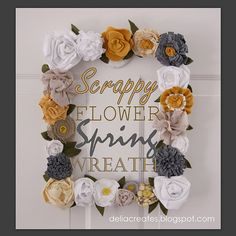 fabric/felt/burlap/scrap wreath -- yellow + gray + white!