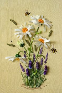 ribbon embroidery designs, ribbon art, bee, flower embroidery designs, silk ribbon embroidery, daisi, margarita, ribbon embroideri, ribbon flower