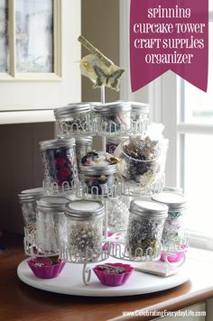 Use a Spinning Cupcake Tower as a Craft Supply Organizer!