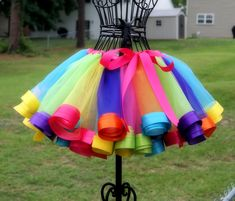 Candy Land Rainbow Satin Ribbon Trim Tutu by ThreePrincessBows