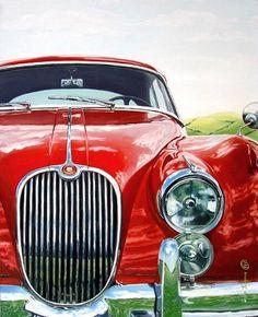 Irina Kuksova: Jaguar XK150, 21st century - still life quick heart, oil
