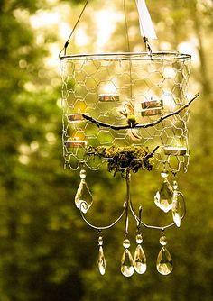 decor, idea, craft, chandeliers, wire chandeli, chicken wire, light, garden, diy