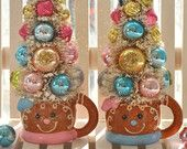 2 Gingerbread Bottle Brush Trees Pink & Aqua Christmas Sugared Bells glass ornaments garland Chic bottlebrush Winter Wonderland black friday