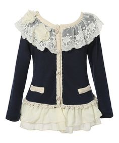 Love this Navy Lace Ruffle Cardigan - Toddler & Girls on #zulily! #zulilyfinds