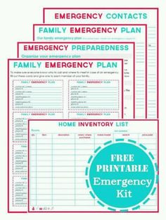 Family Emergency Plan Printables