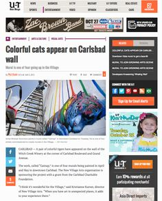 """Michael Summers """"Colorful Cats Appear on Carlsbad Wall"""" UT San Diego"""