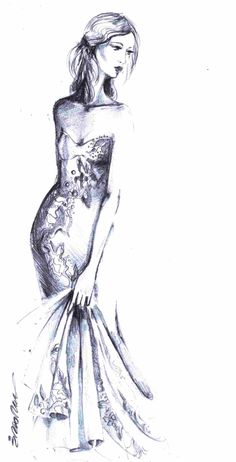 I love when people use negative space in their drawings!   Fashion Sketches | Frame this sketch and hang on your wall for a fashionista feel