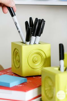 Create fun and personalized pen/pencil holders. #DIY
