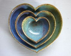 nested heart pottery bowls...