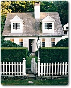 Cottage love white picket fences, hedg, country cottages, little houses, home exteriors, dream houses, garden, cottage style, cottage homes