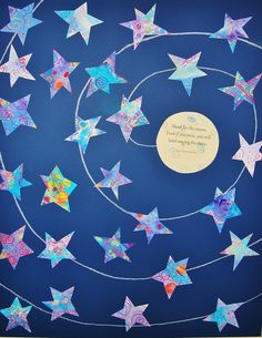 Shoot for the moon! Even if you miss, you will land among the stars. ~Les Brown.....Watercolor resist stars and moon on dark blue paper with oil pastel swirl. By Kindergarteners