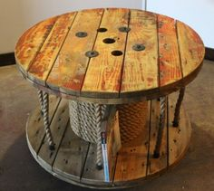 Up-cycled Cable Spool Coffee Table // Library // Storage
