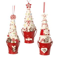 "RAZ Frosting Trees in Bucket Christmas Ornaments Set of 3  3 Assorted Styles Set includes one of each style Red, White, Brown Made of Claydough Measures 6"" X 2"" X 2""  RAZ Christmas Moose"
