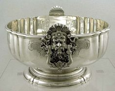 English Sterling Silver Geo II Form Mask Handle Punch Bowl       Crest    70oz
