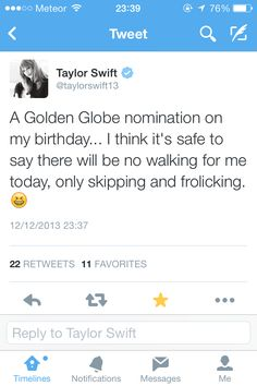 Sweeter than Fiction is nominated for best original song in a movie at the golden globes :))))