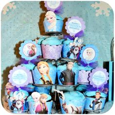 PRINTABLE Disney FROZEN Party Cupcake Toppers and Cupcake Wrappers by Kraftsbykaleigh $3.00 birthday parti, frozen parti