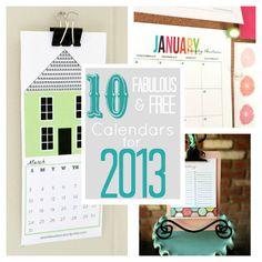 10 Free & Fabulous Calendars for 2013