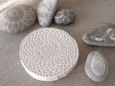 Geninne Zlatkis carved stamp and painted rocks