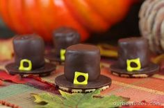 Pilgrim Hats made from a cookie and marshmallows