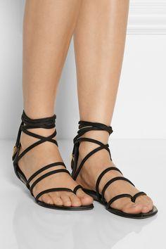 Giuseppe Zanotti|Patrik nubuck and leather lace-up sandals|NET-A-PORTER.COM