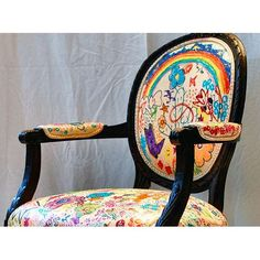 Let kids paint/fabric marker on a Goodwill chair for reading nook. @Brittany Horton Horton Horton Jones - remember doing this with your mom. You guys did chairs and tables.
