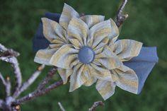 Stylish Jersey knit baby headband, Jersey baby headband, Grey/gold stripes flowers headband, Spring flower headband, Jersey flower headband on Etsy, $9.99