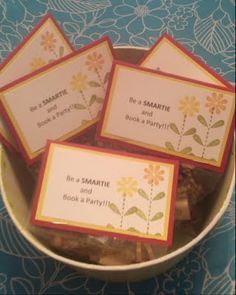 Be a smartie book a party.  Attach candy to a business card and host brochure.