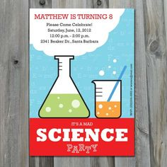 Mad Science Birthday Invitation DIY by CharliesPrintables on Etsy. $12.00, via Etsy.