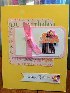 Happy Birthday Greeting Card #handmade #stampinup #cupcake
