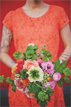 pink green and orange bouquet