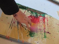 rubber band splatter painting - gonna have to try this (outside, of course!)