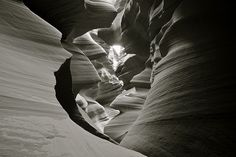 Black and White Image, Lower Antelope Canyon, Near Page Arizona, Navajo Indian Land, USA by Alex E. Proimos, via Flickr