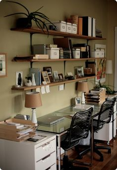 office spaces, green wall, shelves, desks, hous, homes, open shelving, home offices, workspac