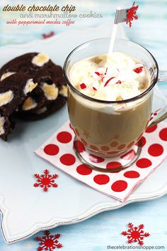 Double Chocolate Chip Marshmallow Soft Batch Cookies with Peppermint Mocha Coffee | TheCelebrationShoppe.com #coffee #peppermint #CMcantwaitCGC