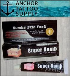 1x 30g Super Numb by Super Numb. $9.45. Super Numb is a maximum strength anesthetic tattoo cream.. Numbs skin fast!. Super Numb is a maximum strength anesthetic tattoo cream. Super Numbs activates fast and can be used for tattooing, body piercing, body waxing, bikini waxing, laser hair removal, and cosmetic tattooing.