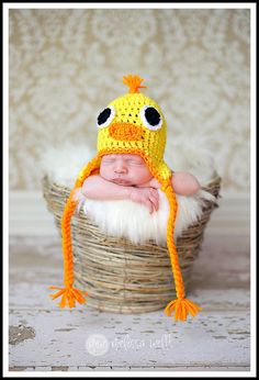 Custom Little Yellow Duck Crocheted Hat/Beanie sizes Newborn - Adult.... So Cute.... Made to order