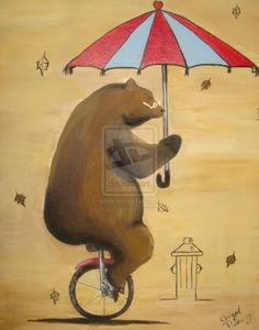 Unicycle riding bear by ~wagtailplume on deviantART